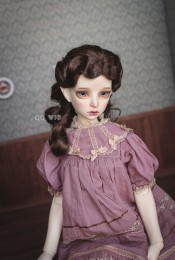 QQ-50B Retro finger waves Synthetic Mohair BJD DOLL WIG 1/3;1/4 size Dark Brown