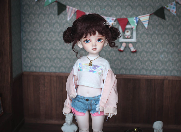 QQ-58C Cappuccino Light Brown BJD Doll Mohair Wig {Dolly Planet} 1//8;1//6 ;1//4