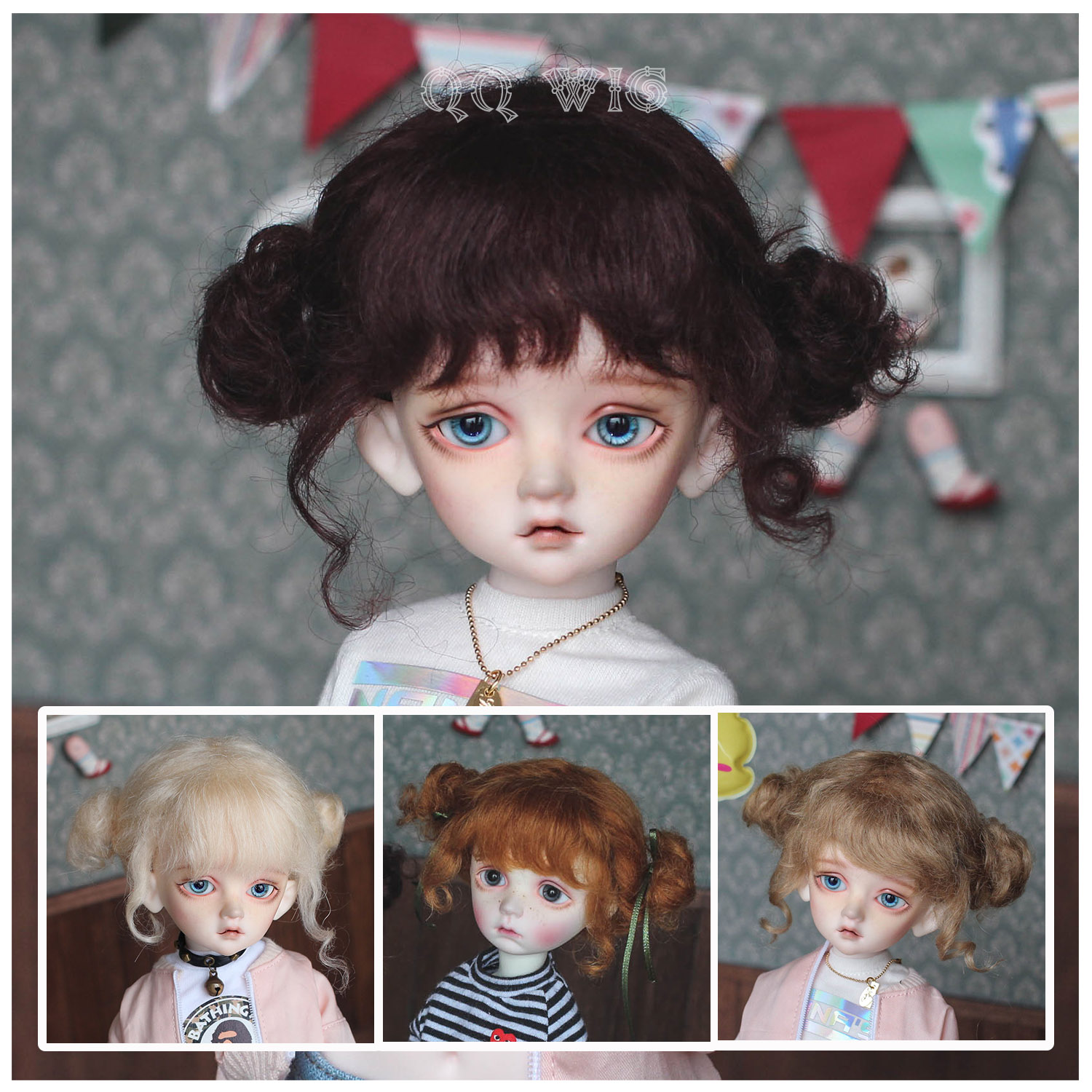 QQ-58【DollyPlanet】BJD Doll Mohair Wig  *秀儿*